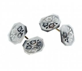 Edwardian Platinum & 14K Gold Double-Sided Cufflinks