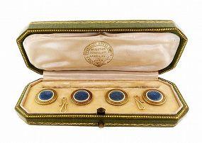 Fontenay Edwardian 18K Gold & Guilloche Enamel Cufflinks