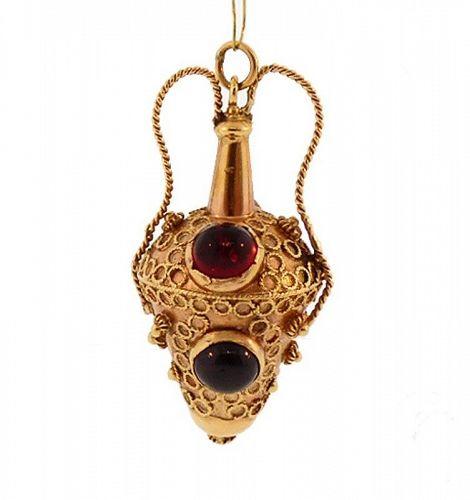 Venetian Etruscan 18K Gold, Citrine & Garnet Amphora-Form Fob Charm