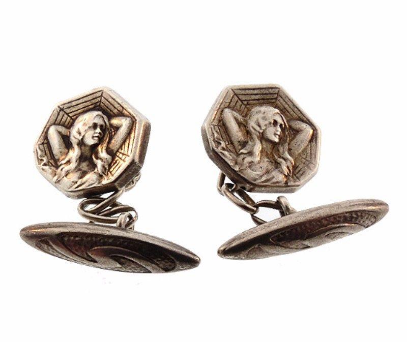 French Art Nouveau Silver Medallist Maiden and Spider Web Cufflinks
