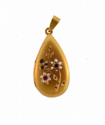 Edwardian 19K Gold, Diamond, Ruby, Sapphire & Pearl Locket