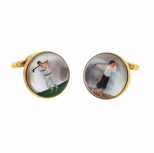 Art Deco 14K Gold & Essex Crystal Golf Flip-Up Stirrup Cufflinks