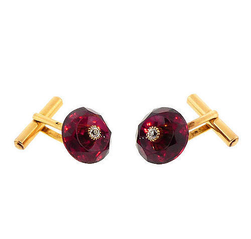 French 18K Gold, Rhodoliite Garnet & Diamond Cufflinks by Leon Favrin