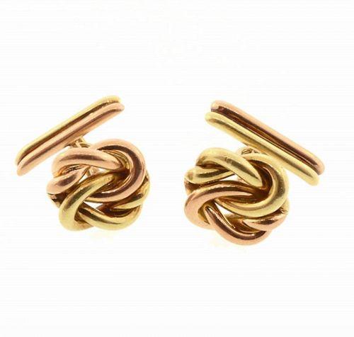 Retro 14K Yellow & Rose Gold Knot Cufflinks