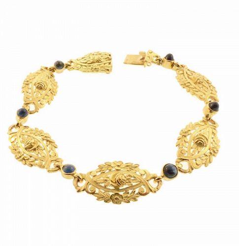French Belle Epoque 18K Gold & Sapphire Floral Bracelet