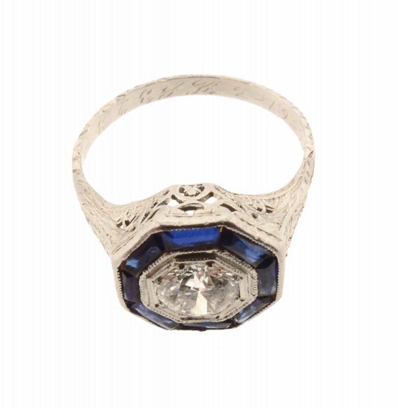 Art Deco Platinum Filigree, Diamond & Sapphire Ring
