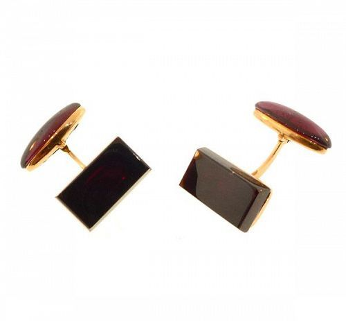 Czech Art Deco 14K Gold & Garnet Cufflinks