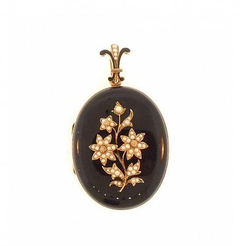 Victorian Onyx, Pearl, Enamel & 14K Yellow Gold Locket
