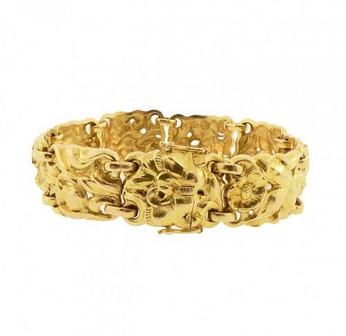 Pierre Baltensperger 18K Gold Sculptural Floral Bracelet