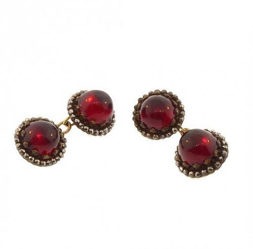 Georgian 15K Gold Cut Steel & Garnet Cufflinks