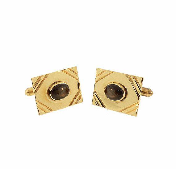 Vintage 14K Gold & Black Star Sapphire Cufflinks