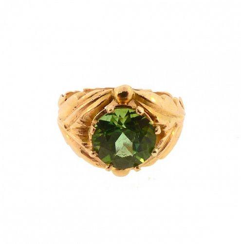 Edward Everett Oakes Arts & Crafts 14K Gold & Green Tourmaline Ring