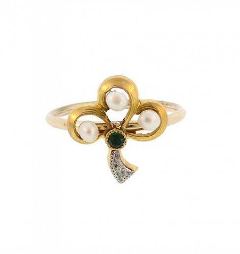 Antique French 18K Gold Pearl Emerald Diamond Stickpin Conversion Ring