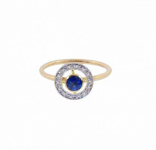 Antique French 18K Gold Sapphire & Diamond Stickpin Conversion Ring