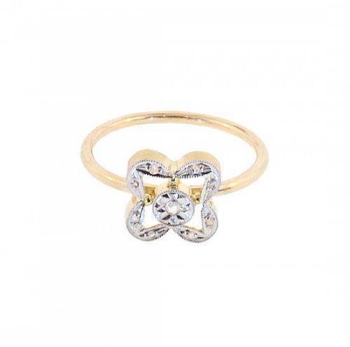 Antique French 18K Gold Platinum Diamond Stickpin Conversion Ring