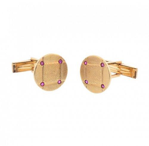Mid-Century 14K Yellow Gold & Ruby Cufflinks