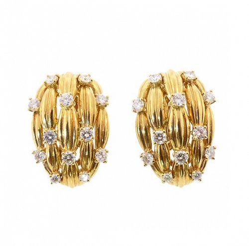 TIFFANY SIGNATURE SERIES 18K Yellow Gold & Diamond Earrings