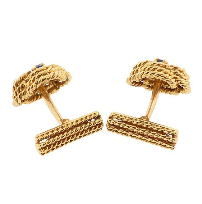 Boucheron 18K Gold & Blue Sapphire Knot Cufflinks