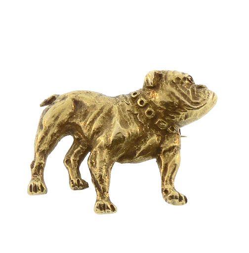 Victorian 14K Yellow Gold English Bulldog Pin
