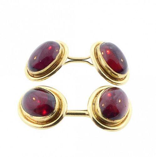 Sansbury & Nellis Art Deco 14K Gold Garnet Cufflinks