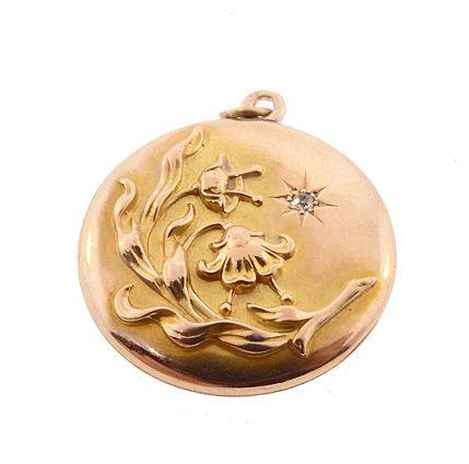 Art Nouveau 10K Gold & Diamond Floral Locket