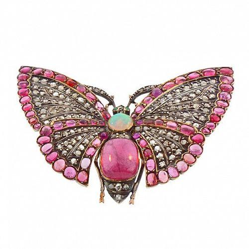 Victorian Gold Diamond Ruby Opal Tourmaline Emerald Butterfly Brooch