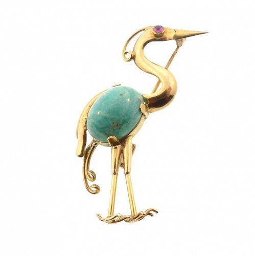 French Retro 18K Gold, Amazonite & Ruby Stork Pin