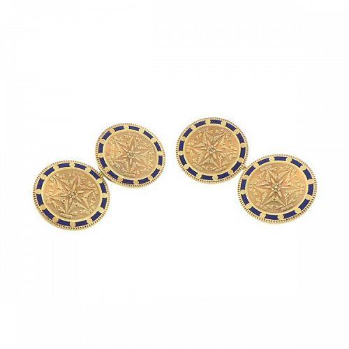 Strobell & Crain 14K Gold & Enamel Double-Sided Cufflinks
