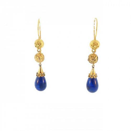 Victorian Etruscan Revival 15K Gold & Lapis Lazuli Pendant Earrings