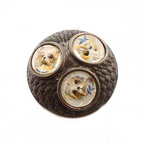Imperial Austrian Silver Reverse-Carved Essex Crystal Dog Brooch