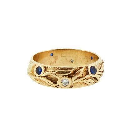 Art Nouveau 14K Gold, Diamond & Sapphire Gentleman's Wedding Band