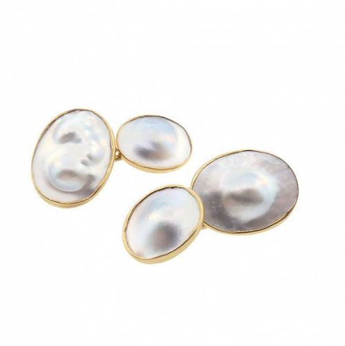 Edwardian Carrington 14K Gold & Blister Pearl Cufflinks