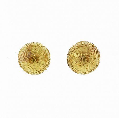 Portuguese 19K Yellow Gold Contas de Viana Bead Earrings