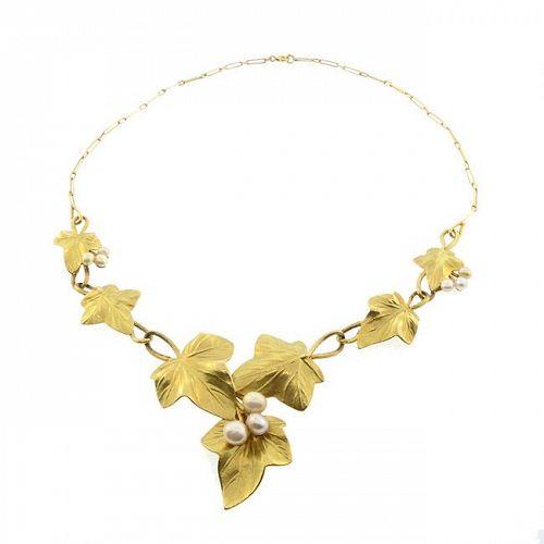 Edouard Aimé Arnould Art Nouveau 18K Gold & Pearl Floral Ivy Necklace