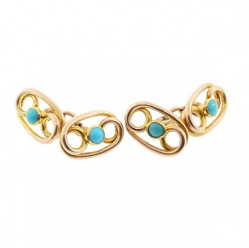 Victorian 14K Yellow Gold & Turquoise Cufflinks