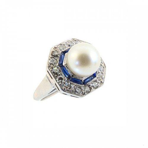 Art Deco Platinum, Diamond, Sapphire & Pearl Target Ring