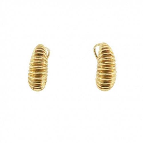 Tiffany & Co. 18K Gold Ribbed Shrimp Earrings