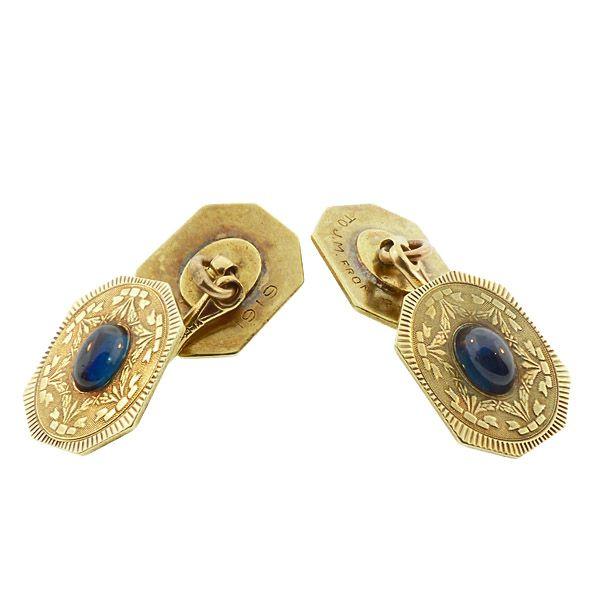 Edwardian 14K Gold & Sapphire Cufflinks by Wordley Allsopp & Bliss