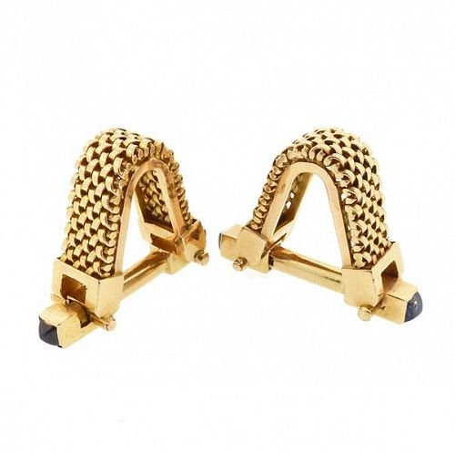 French 18K Gold & Sapphire Stirrup Art Deco Cufflinks
