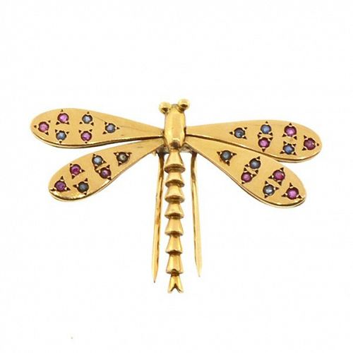 Retro Gold, Ruby & Sapphire Dragonfly Insect Brooch