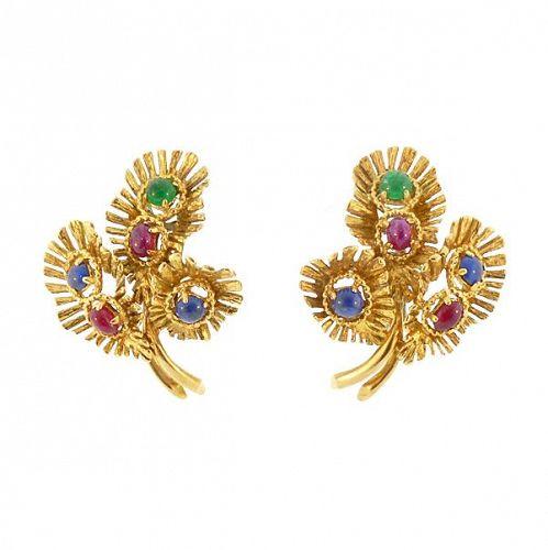 18K Gold, Ruby, Sapphire & Emerald Cabochon Earrings
