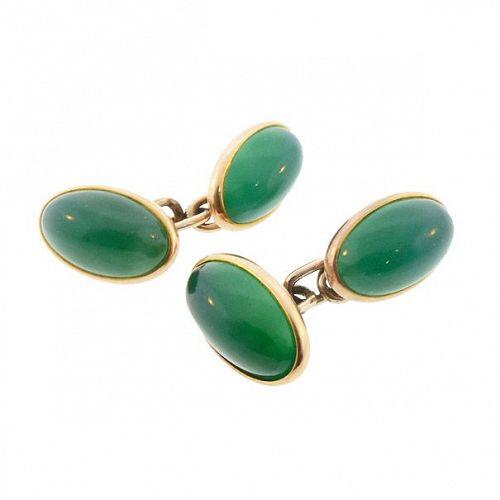 Art Deco 14K Gold & Green Chalcedony Double-Sided Cufflinks