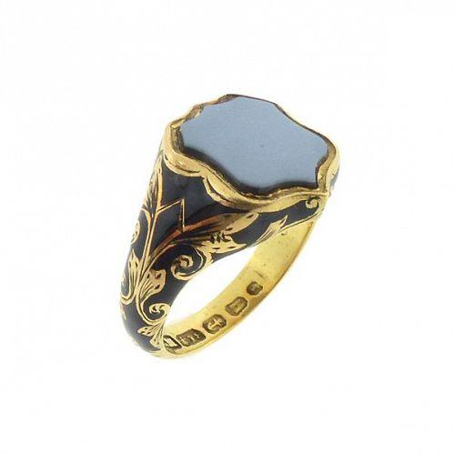 Victorian English 18K Gold Enamel Hair Mourning Ring