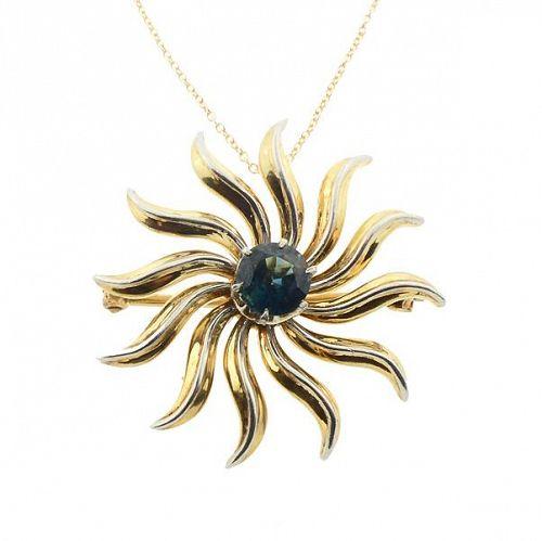 14K Gold Blue Sapphire Sunburst Pendant & Pin