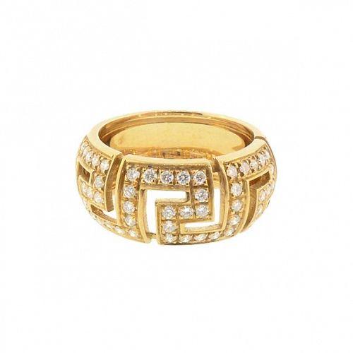 Signed Gianni Versace GRECA SAFFO 18K Gold Diamond Ring