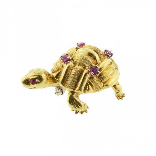 Cartier Vintage 18K Gold & Ruby Turtle Brooch