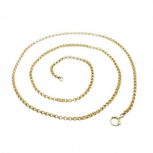 Victorian 14K Gold Double Belcher Chain Link Necklace
