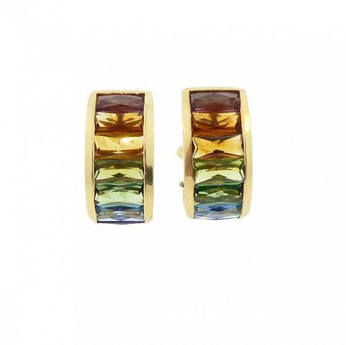 H Stern RAINBOW COLLECTION 18K Gold & Multi Gemstone Earrings