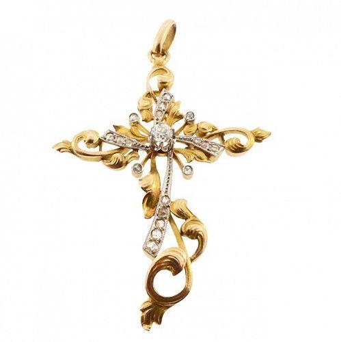 Art Nouveau 18K Gold, Platinum & Diamond Cross Pendant