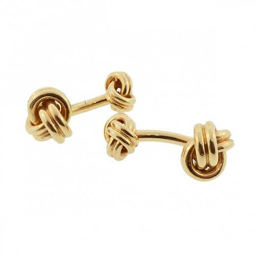 Tiffany & Co. 14K Yellow Gold Knot Barbell Cufflinks in Original Box